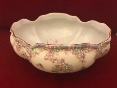 "AA Vantine Nippon Era 8"" Footed Low Bowl w Raised Enamel Flowers and Butterflies 5"