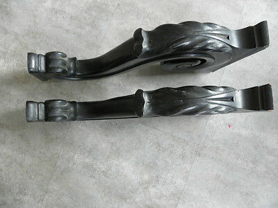Old Feet Base Table Shelf Corbel Pediment Ornate Architectural Carved Dark Wood 4