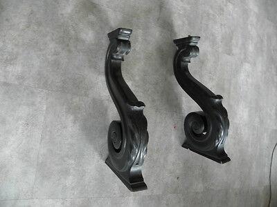 Old Feet Base Table Shelf Corbel Pediment Ornate Architectural Carved Dark Wood 7