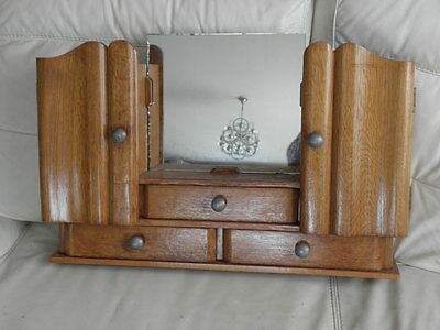 Vintage Shelf stand Cabinet Cupboard Furniture Makeup Storage Mirror old wood 6
