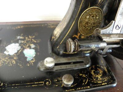ANTIQUE SEWING MACHINE Winselmann old Hand Crank TOOLS vintage century iron 8
