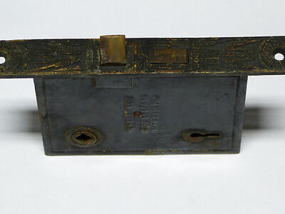 1870's Cast Brass & Iron Mallory Wheeler Interior Door Mortise Lock
