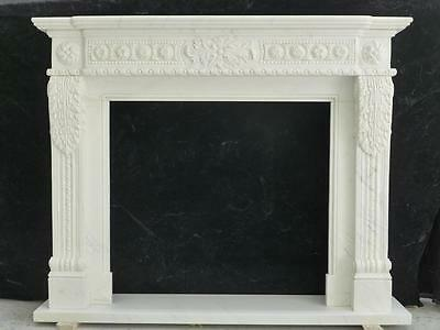 Beautiful Hand Carved Marble European Design Marble Figural Fireplace Mantel Z7 2