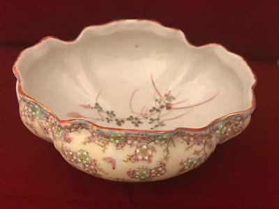 "AA Vantine Nippon Era 8"" Footed Low Bowl w Raised Enamel Flowers and Butterflies 11"