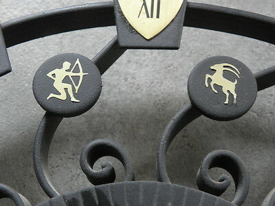 large WALL CLOCK, WROUGHT IRON RETRO VINTAGE MID CENTURY selva sgn horoscope old 4