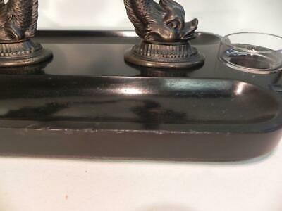 Antique Victorian Ink Stand.  Bronze Dolphins on Black Slate (W/F) (236) 6
