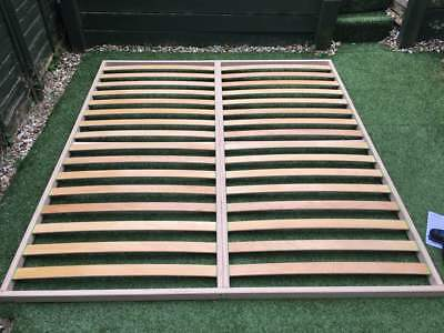 Slatted bed base 140 x 190cm Beech Wood Double Orthopedic Easy Assembly Antique 7
