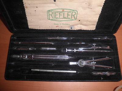 Juego De Compases Y Tiralineas Vintage Riefler Alemanes Germany 27X11X2 Cms. C36 10