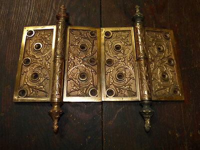 Matched Pair Circa 1876 Cast Bronze  Hinges By Corbin Left Hand 3