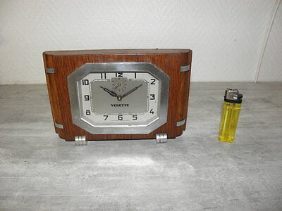 vintage wood clock alarm vedette retro desk  Art Deco design Mechanics uhr 2