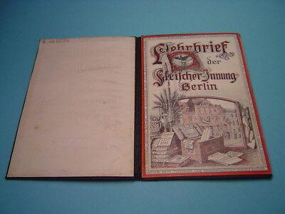 GESELLENBRIEF LEHRBRIEF der FLEISCHER-INNUNG BERLIN 1937
