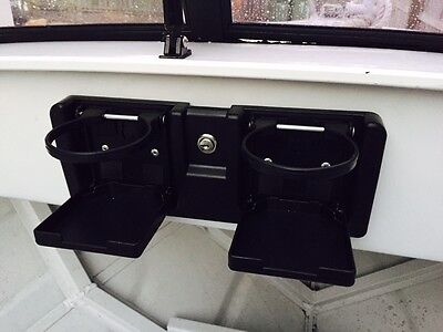BOAT GLOVE BOX MARINE Grade Glove Box for Boats With Drink ,Holders NEW Black