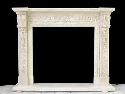 Beautiful Hand Carved Marble European Design Marble Figural Fireplace Mantel Z1 2