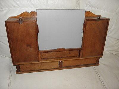 Vintage Shelf stand Cabinet Cupboard Furniture Makeup Storage Mirror old wood 4 • £280.00