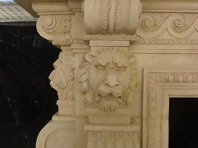 Large Estate Hand Carved Fireplace Mantel - Fireplace Mantel - Monumental Mantel 8
