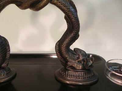 Antique Victorian Ink Stand.  Bronze Dolphins on Black Slate (W/F) (236) 3