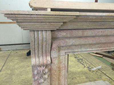 Beautiful Large Hand Carved Marble Estate Fireplace Mantel - Jd604 3