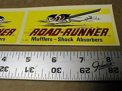 VINTAGE DRAG RACING 1967 water slide decal Road-Runner Mufflers Shocks NM  Pair