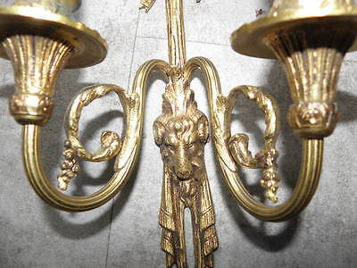 antique WALL SCONCE BRONZE old SCULPTURES LUXURIOUS French Gilt Cast lights Pair 8