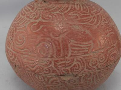 Antique Mayan Pre Columbian Pottery~Incised Red Vessel~Image of An Elephant! 10