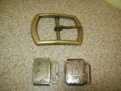 Vintage Belt Buckles Solid Brass Sterling & Pioneer Silver Plate (Lot of 3) 12