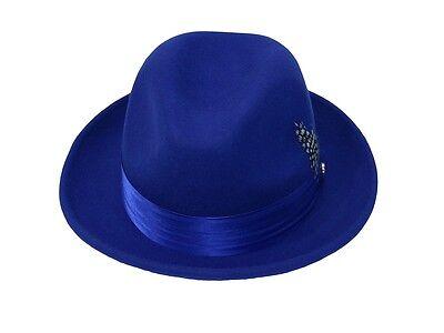 5ad37a0da64a9 ... Men s Fedora Dress Hat Royal Blue UN-108 Size S