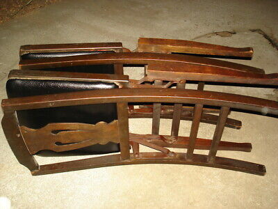 2 Solid Kumfort Antique wooden Folding Chairs USA patent Louis Rastetter & Sons 4