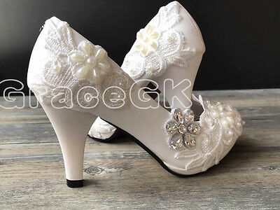 4a209b396c34b3 2 of 7 Lace white ivory crystal Wedding shoes Bridal flats low high heel  pump size 5-12