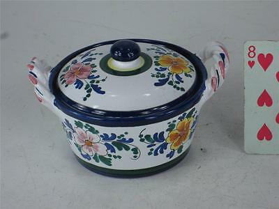 Art Pottery Italy Hand Painted JELLY JAM POT Spoon Slotted lid  Finial Handle 12