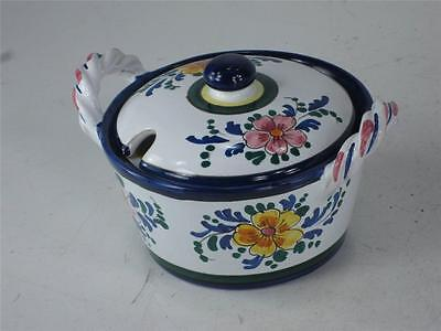 Art Pottery Italy Hand Painted JELLY JAM POT Spoon Slotted lid  Finial Handle 5
