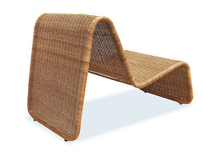 Stunning 1960s P3 Wicker Lounge Chair / Lounger by Tito Agnoli
