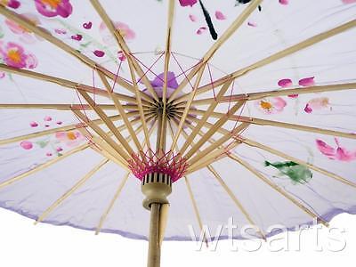 Medium Chinese Floral Parasol Geisha Umbrella - 83cm Dia 10