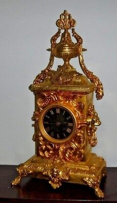 Rare Beautiful French Japy Frere Antique Gilt 8 Day Chime Clock Working 3