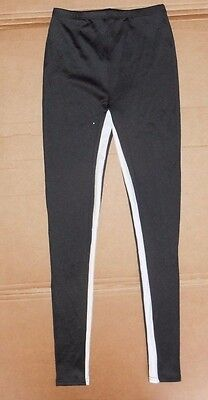 NWOT Black //white inseam stripe Leggings Dance costume Kick pants ch//ladies
