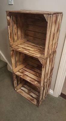 Burnt Tourched Wood Vintage Wooden Apple Fruit Crate Rustic Old Bushel Box.... 9