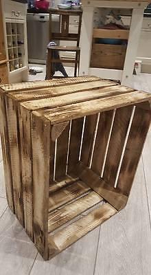 6 x BURNT TOURCHED WOOD VINTAGE WOODEN APPLE FRUIT CRATE RUSTIC OLD BUSHEL BOX.. 6