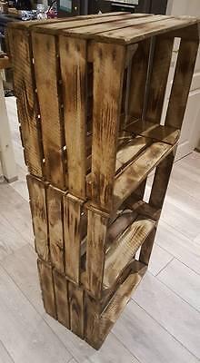 Burnt Tourched Wood Vintage Wooden Apple Fruit Crate Rustic Old Bushel Box.... 8