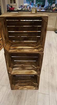 Burnt Tourched Wood Vintage Wooden Apple Fruit Crate Rustic Old Bushel Box....