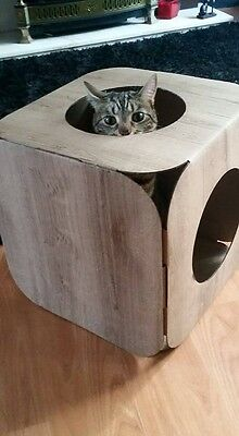 Cardboard Cat House \ Bed Toy Scratcher Wood Effect Cube 4