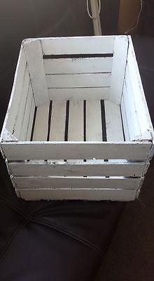 White Painted European Vintage Wooden Apple Fruit Crate Bushel Box Shabby Chic 6