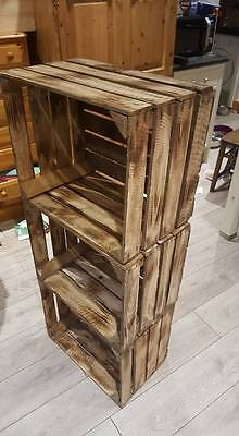 Burnt Tourched Wood Vintage Wooden Apple Fruit Crate Rustic Old Bushel Box.... 10