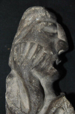 Antique Pre-Columbian Stone Figure Seated Man w/ Hands on Face 7