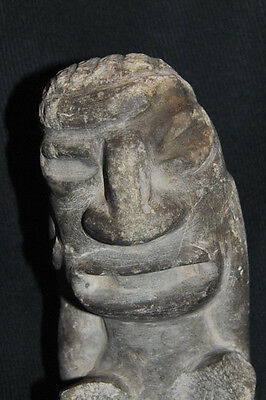 Antique Pre-Columbian Stone Figure Seated Man w/ Hands on Face 2