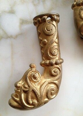 Victorian Rare Brass Furniture Ornate Art Deco Monster / Devil Face Brass Feet 10