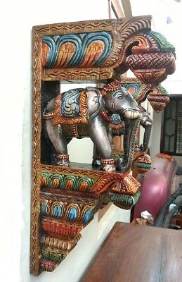 Elephant Wall Corbel Pair Handcarved Wooden Bracket Sculpture Estate Home Decor 2