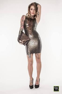 Rubber Latex Damen Sexy Mini Kleid Mit Struktur Latex Kombiniert  Gr.xs-Xxl 5