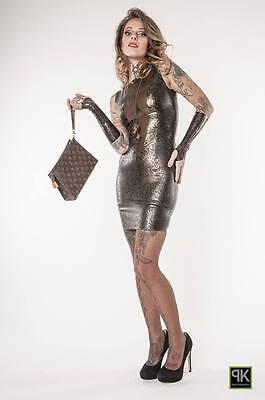 Rubber Latex Damen Sexy Mini Kleid Mit Struktur Latex Kombiniert  Gr.xs-Xxl 2