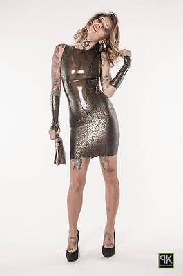 Rubber Latex Damen Sexy Mini Kleid Mit Struktur Latex Kombiniert  Gr.xs-Xxl 6