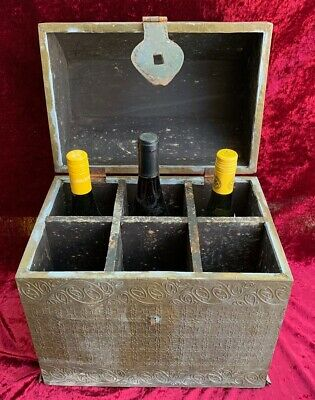 Antique Decorative Brass and Timber Wood Treasure Chest Trunk Wine Bottle Box 5