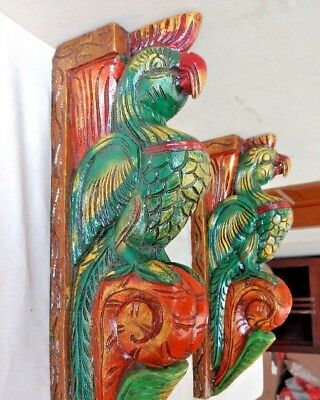 Hand carved Eagle Wooden Wall Corbel Bracket Pair Bird Sculpture Art Decor Rare 2